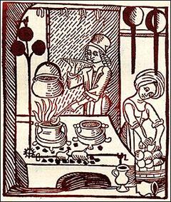 Illustrasjon fra ca. 1310 som viser tilbredning av suppe