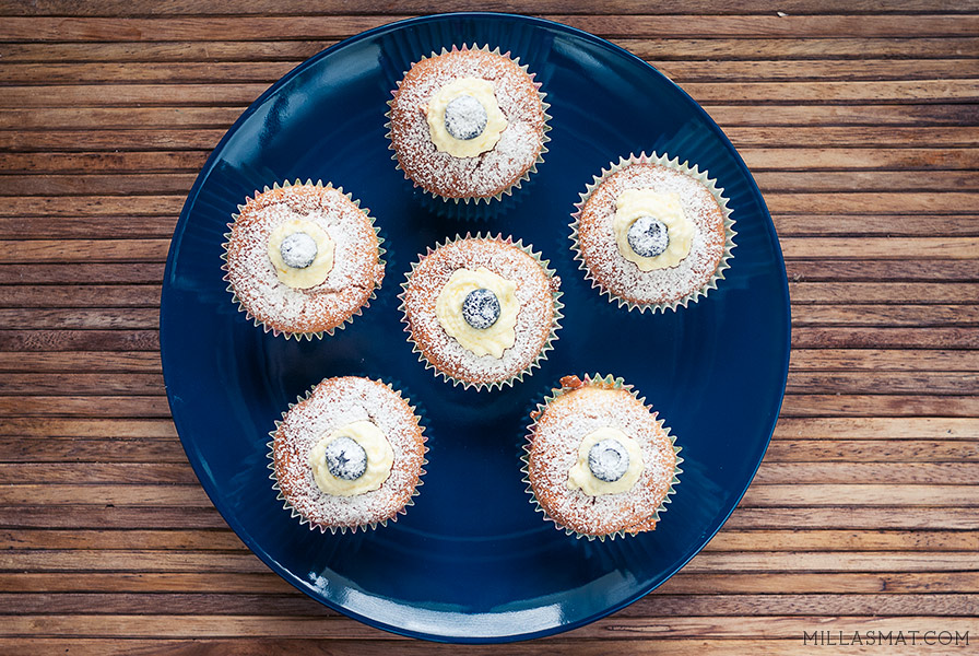 Hokkaido Chiffon cupcakes med ekte vaniljekrem