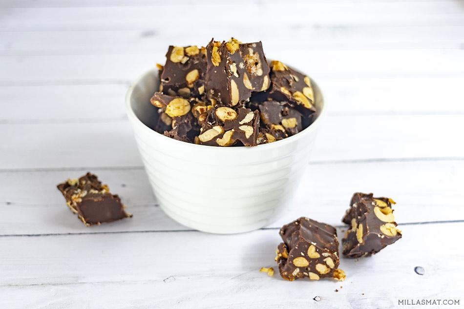 Søtsalte sjokoladeruter med peanøtter, Lion og havsalt