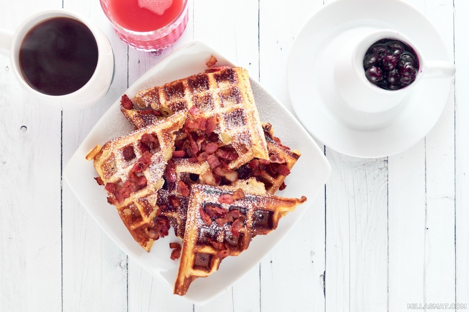 Buttermilk and rye waffles