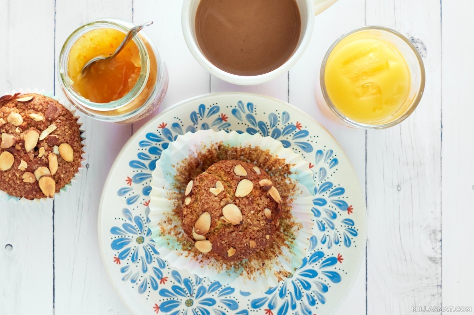 Frokostmuffins med appelsinjuice
