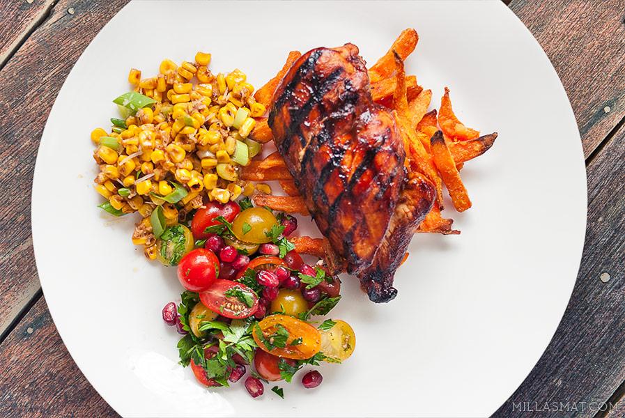 barbequeglasert-kylling-cherrytomatsalat
