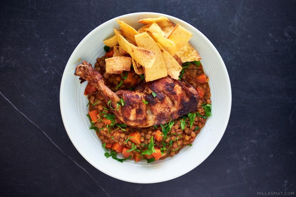 Berbere spicy-linser og kyllinglår