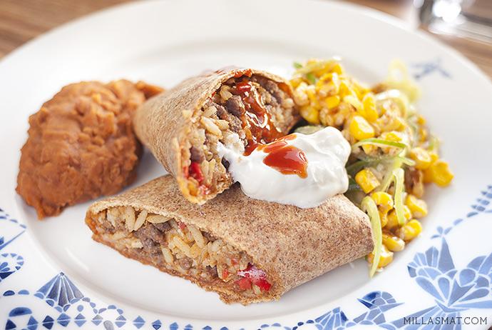 Burritos med fullkorn, elote og frijoles