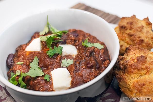 Chili con carne med mozzarella