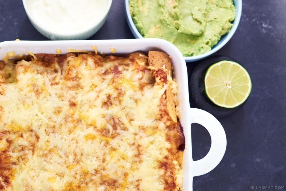 Enchiladas med hjemmelaget saus