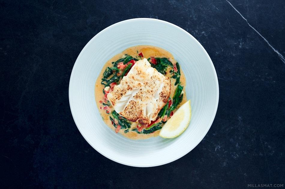 Fisk Florentine :: hvit fisk & spinatsaus