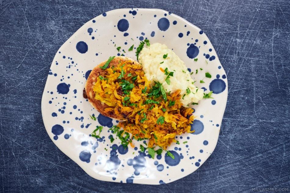 Currystekte rotgrønnsaker og fiskefrikadeller