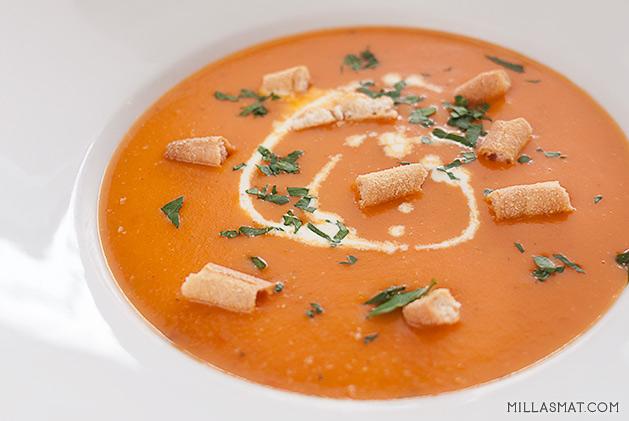 Gulrot og tomatsuppe