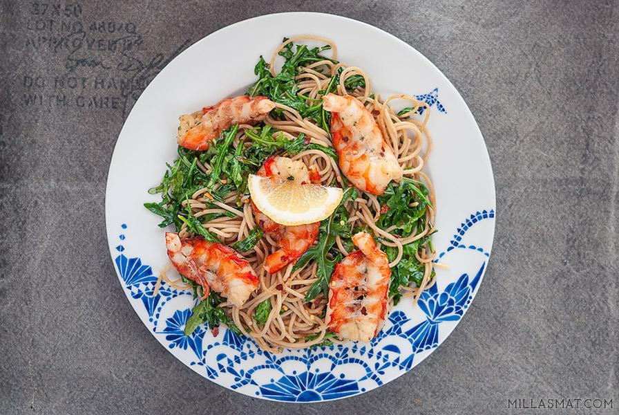 italiensk-reke-og-ruccola-spaghetti