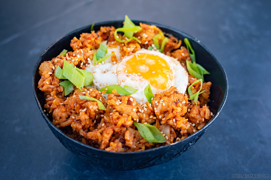 Kimchi Fried Rice :: stekt ris med kimchi og kylling 김치