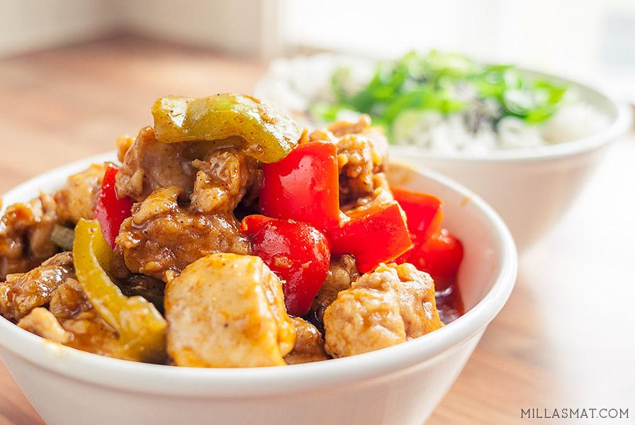 Kinesisk velvet currykylling med paprika