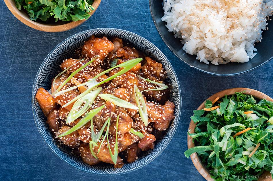 Kinesisk sursøt kylling med vårløk og sesamfrø 糖醋里脊