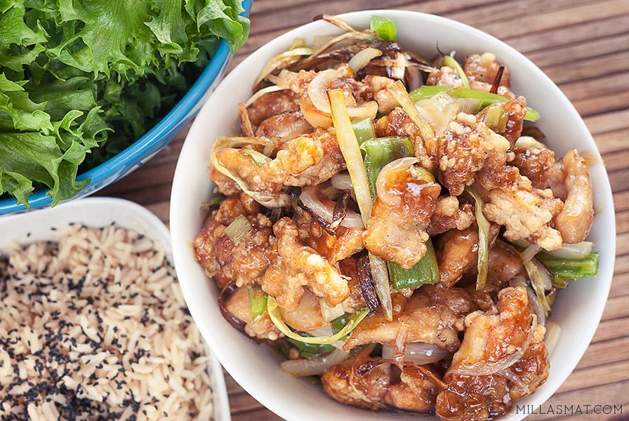 Kkanpunggi :: koreansk hvitløkskylling i salatwraps