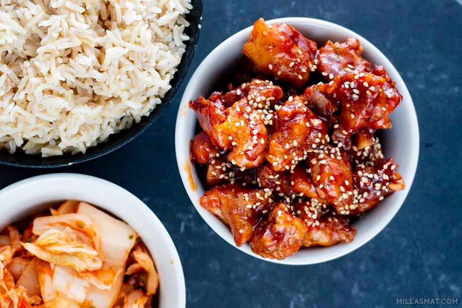 Koreansk Popcorn-kylling med «hemmelig saus»