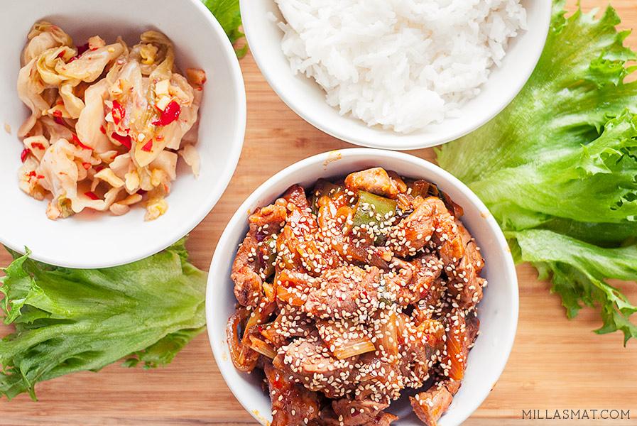 Koreansk svinewok :: Doejibulgogi (Jeyukbokkeum)