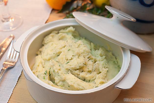 Kremete poteter med hvitløk og gressløk