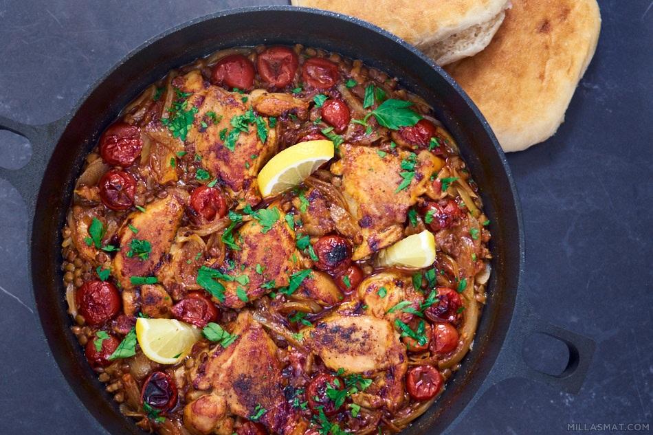 Kylling med linser fra Marokko