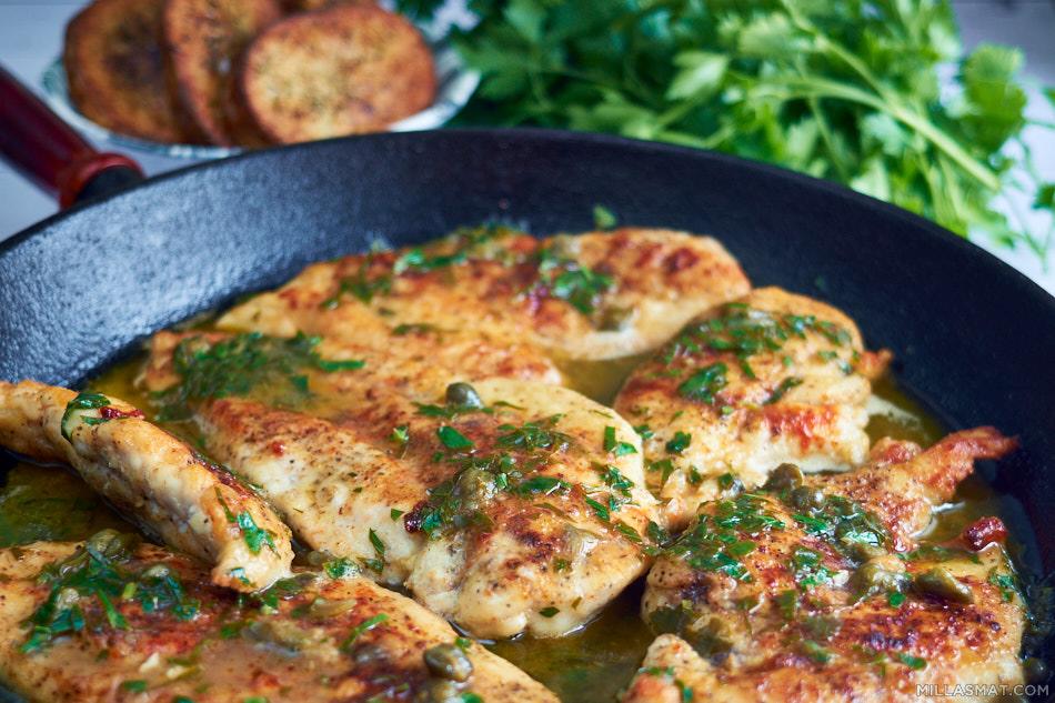 Kylling Piccata :: sitron, kapers og hvitvinssaus