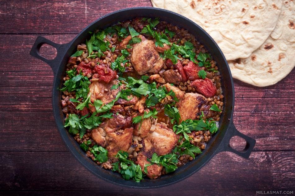 Marokkansk kylling og linser med Ras el Hanout