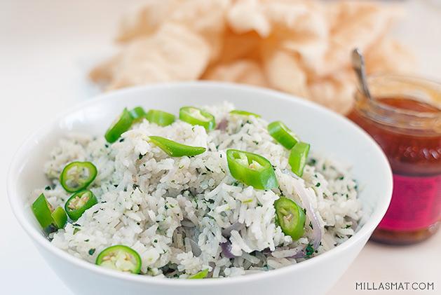 Pakistansk ris med erter og løk