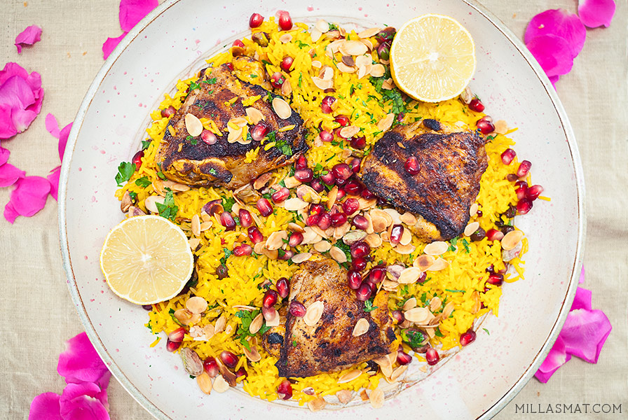 Persisk safranris Parsi pulao & yoghurtkylling Joojeh kabob