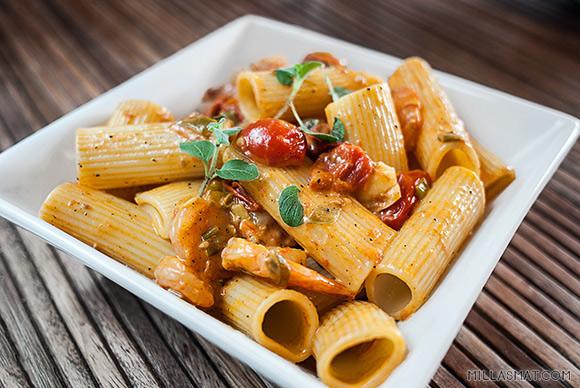 scampi pasta chili fløte