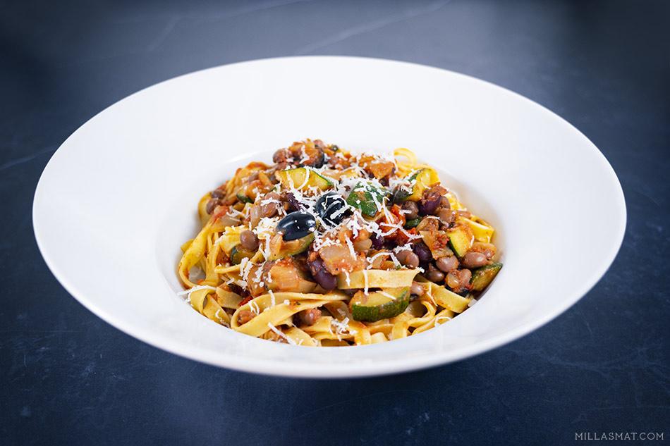 Pasta Vegetariano :: italiensk vegetarpasta med bønner