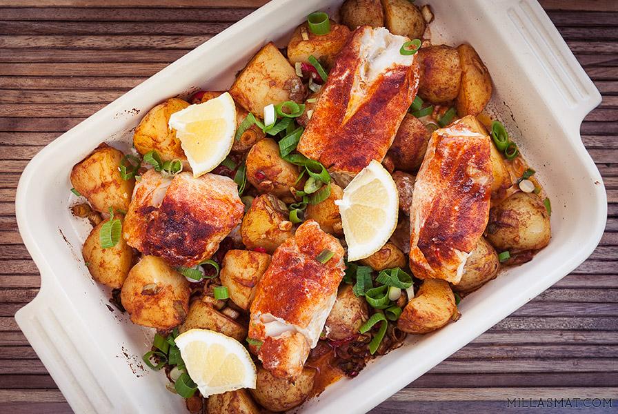 Poteter og torsk på spansk