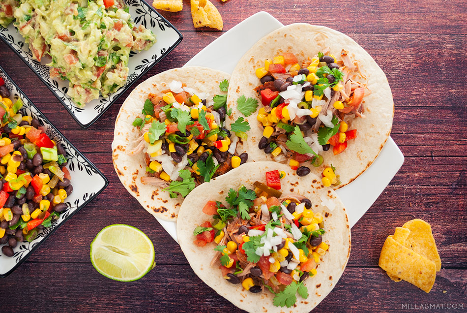 Pulled pork tacos & Tijuana black bean salsa