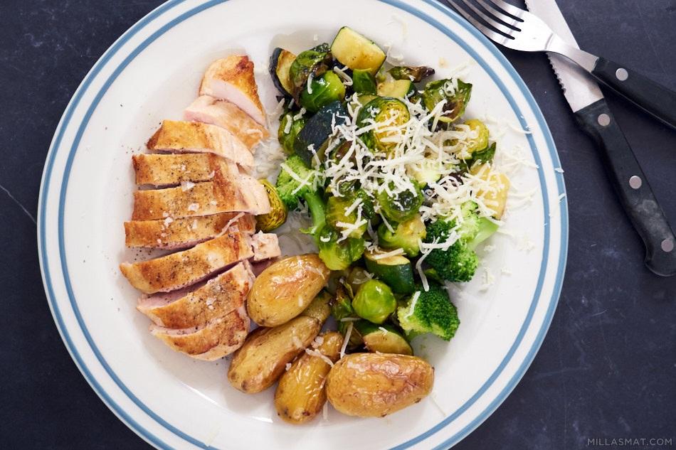 Broccoli, squash og rosenkålsalat