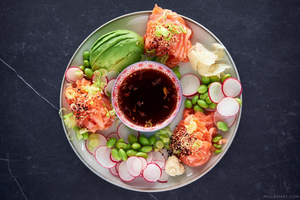 Sashimi med avocado, ponzu og gari 刺身
