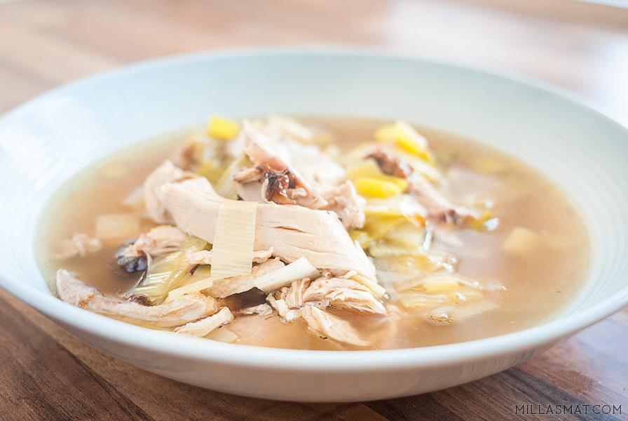 Cock-a-leekie soup :: skotsk hønsesuppe