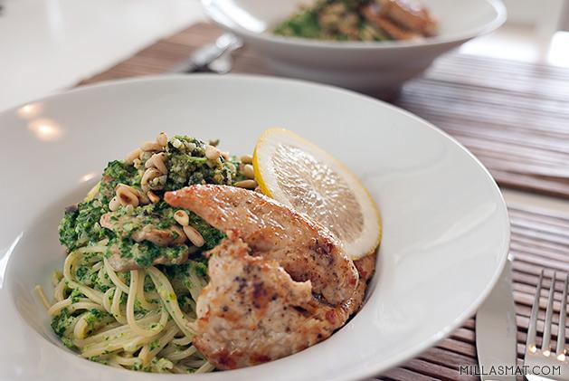 spaghetti-sopp-spinat-kylling