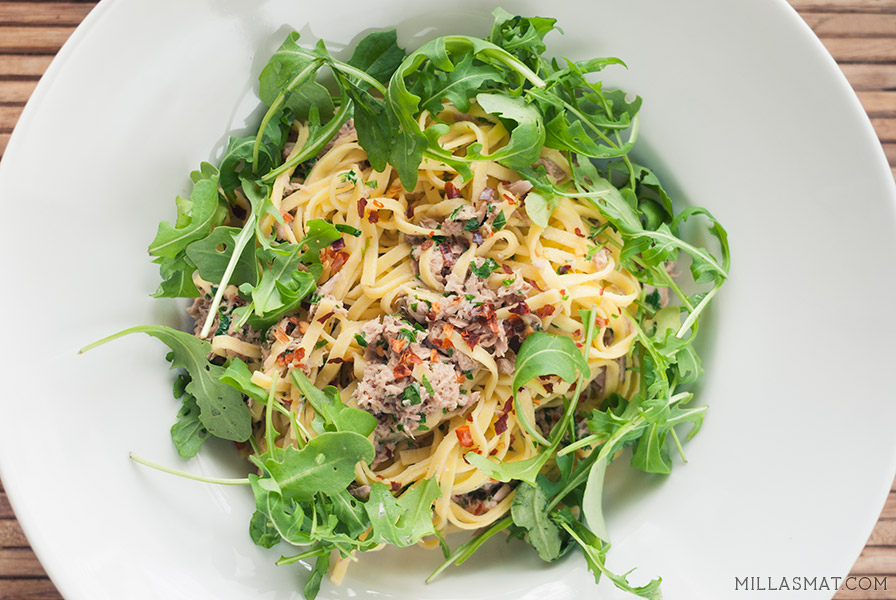 spaghetti-tunfisk-sitron-ruccola