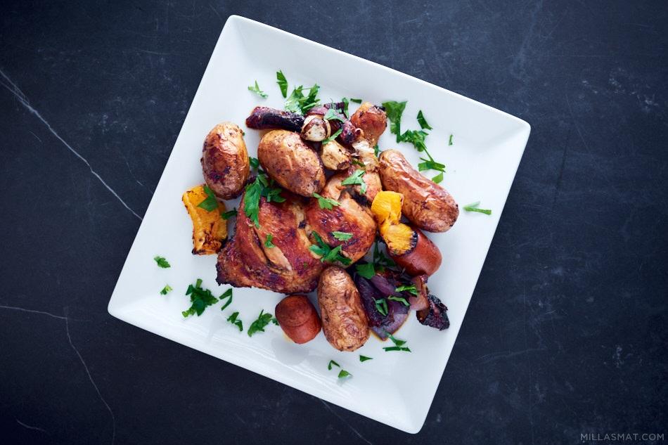 Spansk kylling med poteter