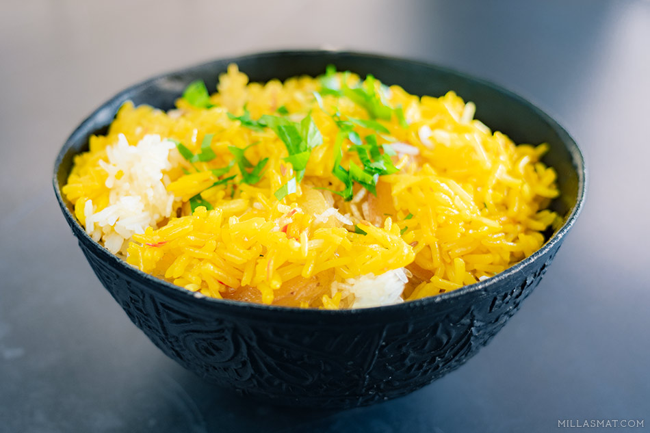 Persisk ris med safran og crispy poteter