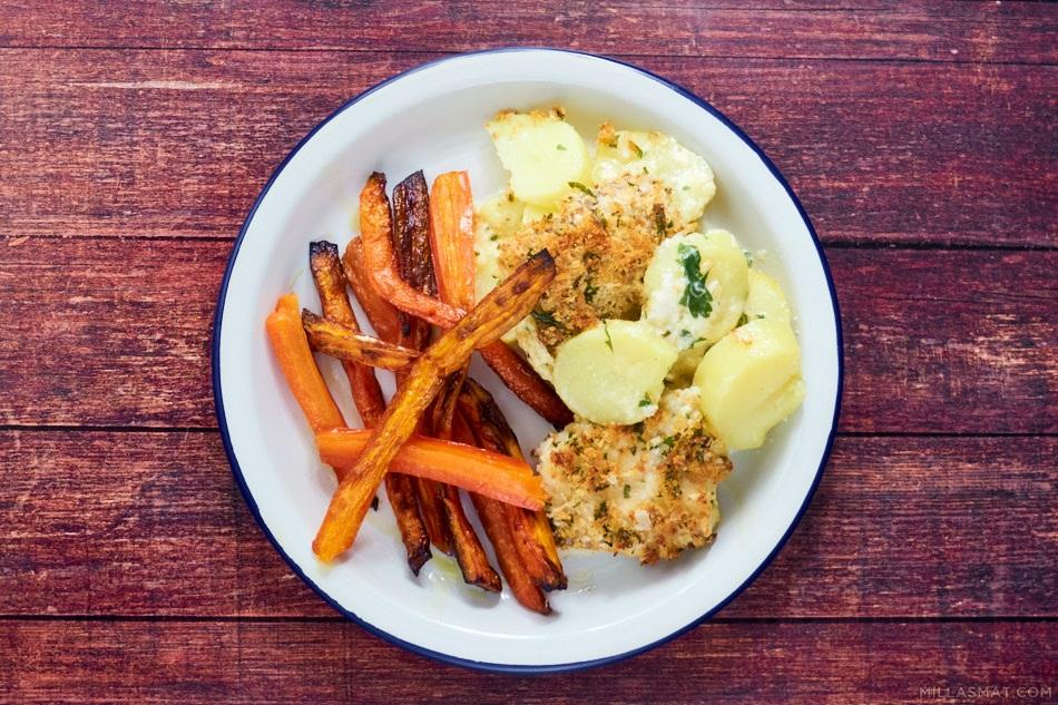 Torsk og potetgrateng med ostesmuler