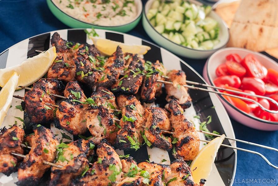 Tyrkisk-amerikansk grillet kyllingkebab