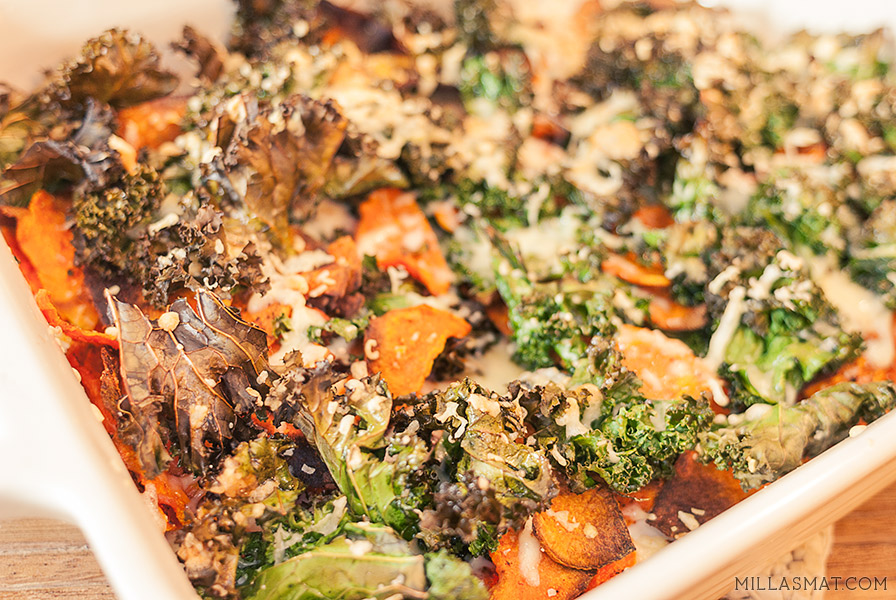 Vegetarnachos med søtpotet, chili og grønnkål