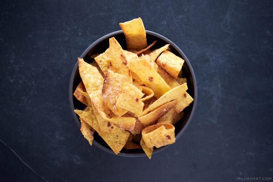 Sweet or savoury tortillastrips