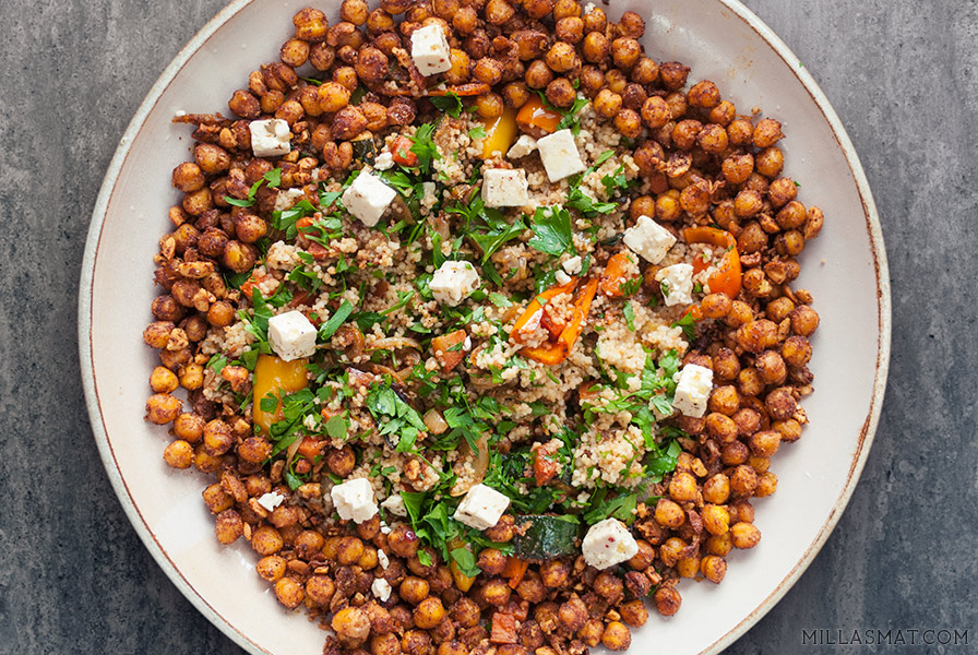 Israelsk couscous med crunchy kikerter