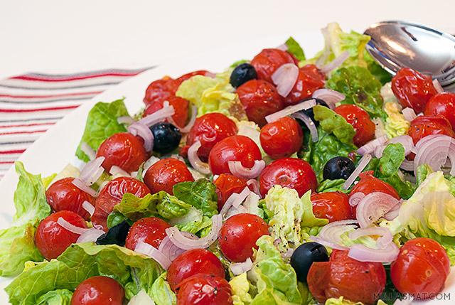 Stekt cherrytomatsalat med vinaigrette