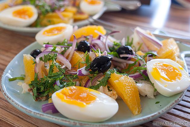 Valenciasalat med torsk og appelsin